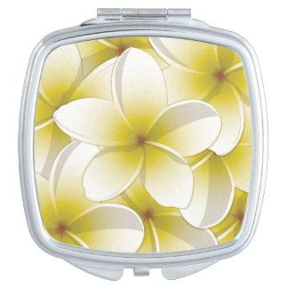 Bright Frangipani/ Plumeria flowers Travel Mirror