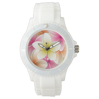 Bright Frangipani/ Plumeria flowers Wristwatch