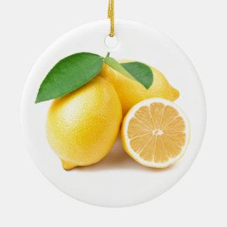 Bright & Fresh Yellow Lemons Ceramic Ornament