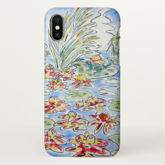 Bright Frog on Water Lily Watercolour Design iPhone X Case