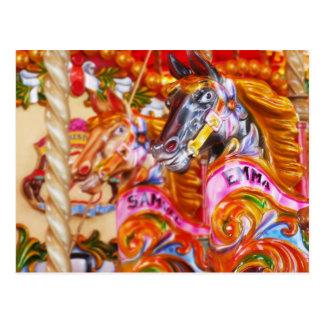 Bright Fun Carousel Horses Postcard