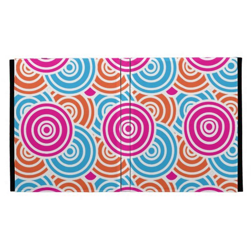 Bright Fun Layered Concentric Circles Pattern Gift iPad Folio Covers