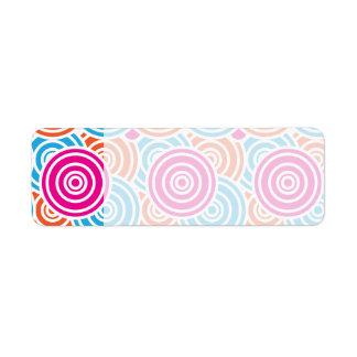 Bright Fun Layered Concentric Circles Pattern Gift Return Address Label