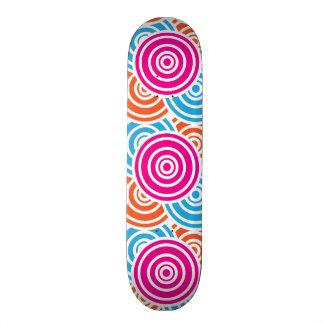 Bright Fun Layered Concentric Circles Pattern Gift Skate Board Deck