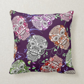 Bright Fun Smiley Ornate Skulls Fabric Print Throw Pillow