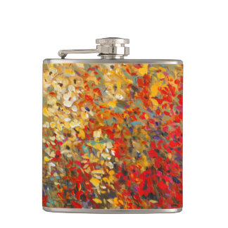 Bright Garden Mural of Spring Wildflowers Hip Flask