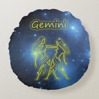 Bright Gemini Round Pillow