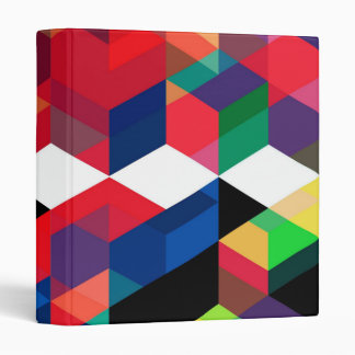Bright Geometric Diamond Pattern 3 Ring Binder