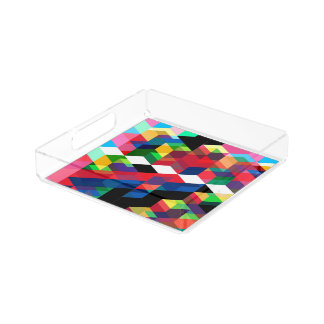 Bright Geometric Diamond Pattern Acrylic Tray