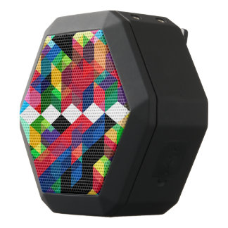Bright Geometric Diamond Pattern Black Bluetooth Speaker