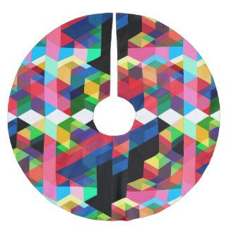 Bright Geometric Diamond Pattern Brushed Polyester Tree Skirt