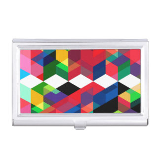 Bright Geometric Diamond Pattern Business Card Holder