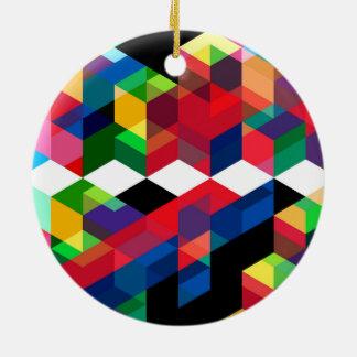 Bright Geometric Diamond Pattern Ceramic Ornament
