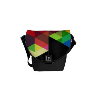Bright Geometric Diamond Pattern Courier Bag
