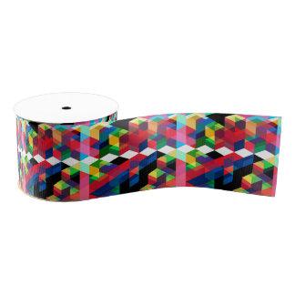 Bright Geometric Diamond Pattern Grosgrain Ribbon