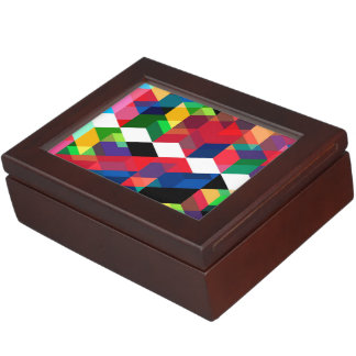 Bright Geometric Diamond Pattern Keepsake Box