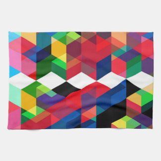 Bright Geometric Diamond Pattern Kitchen Towel