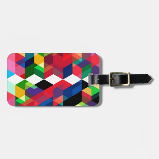 Bright Geometric Diamond Pattern Luggage Tag