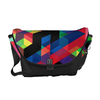 Bright Geometric Diamond Pattern Messenger Bag