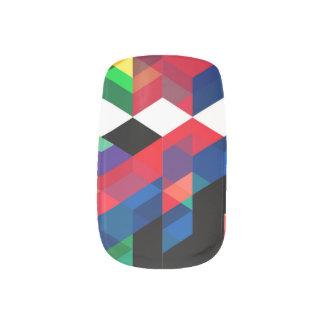 Bright Geometric Diamond Pattern Minx Nail Art