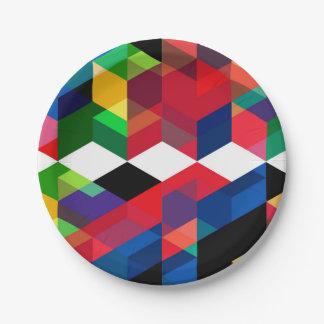 Bright Geometric Diamond Pattern Paper Plate