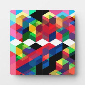 Bright Geometric Diamond Pattern Plaque