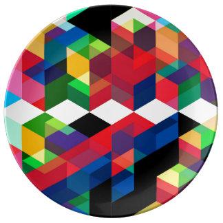 Bright Geometric Diamond Pattern Plate