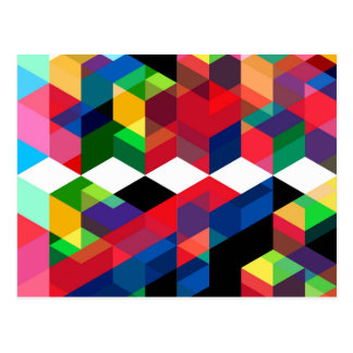 Bright Geometric Diamond Pattern Postcard