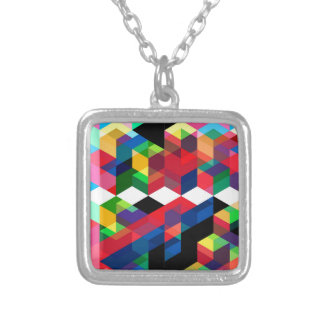 Bright Geometric Diamond Pattern Silver Plated Necklace