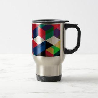 Bright Geometric Diamond Pattern Travel Mug