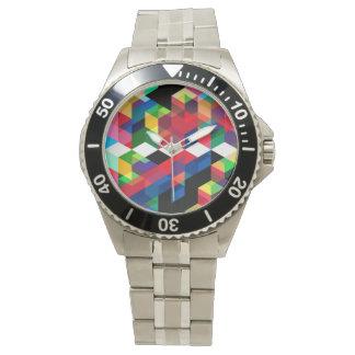 Bright Geometric Diamond Pattern Watch