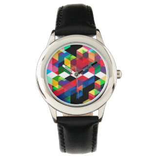 Bright Geometric Diamond Pattern Watch