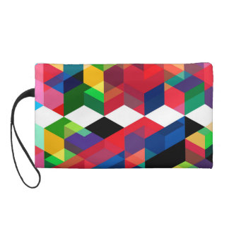 Bright Geometric Diamond Pattern Wristlet