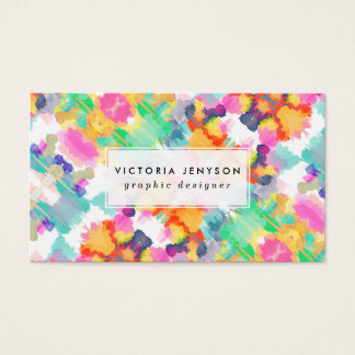 Bright Girly Abstract Floral Watercolor Pattern Business Card