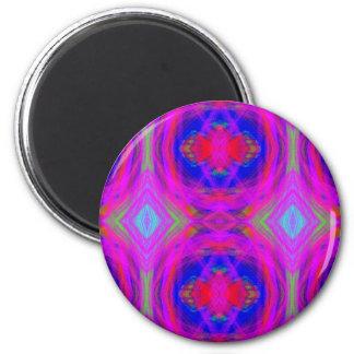 Bright Girly Chic Neon Tribal Pattern 2 Inch Round Magnet