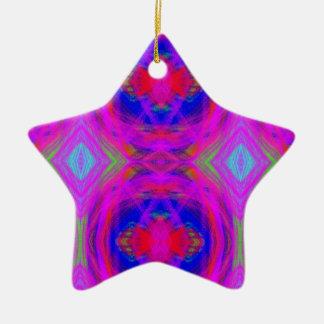 Bright Girly Chic Neon Tribal Pattern Ceramic Star Ornament