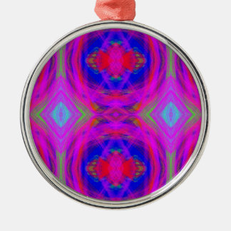 Bright Girly Chic Neon Tribal Pattern Silver-Colored Round Ornament