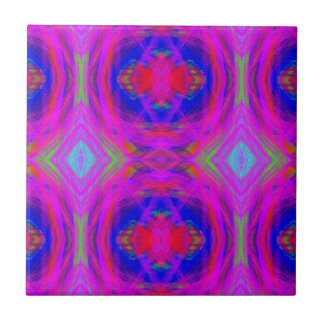 Bright Girly Chic Neon Tribal Pattern Tiles