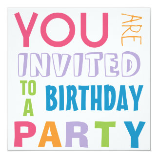 """Bright Girly Colors Teen Tween Birthday Party 5.25"""" Square Invitation Card"""