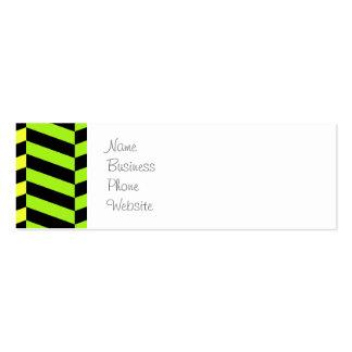 Bright Girly Neon Stripes Chevron Pattern Mini Business Card