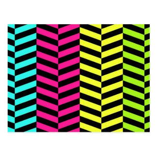 Bright Girly Neon Stripes Chevron Pattern Postcard