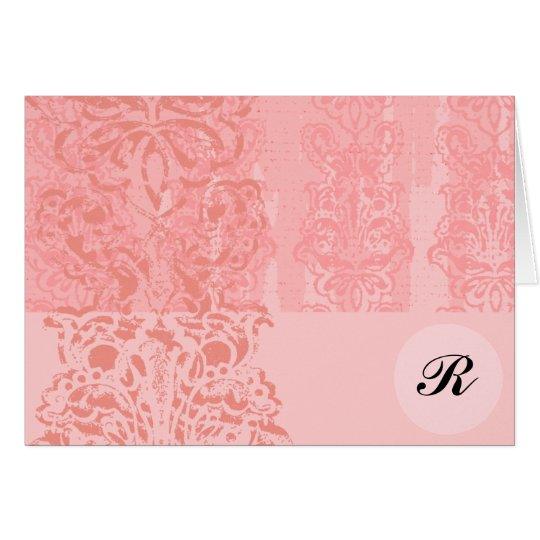 Bright Girly Pink Damask Monogram Initial Note-