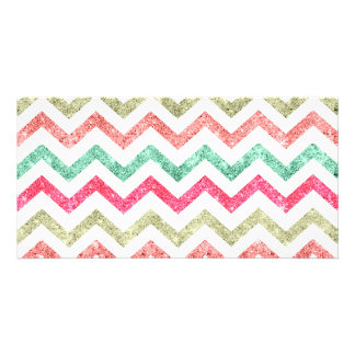 Bright Glitter Teal Coral Emerald Red Chevron Photo Card Template