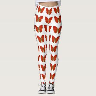Bright gogeous red butterflies Leggings