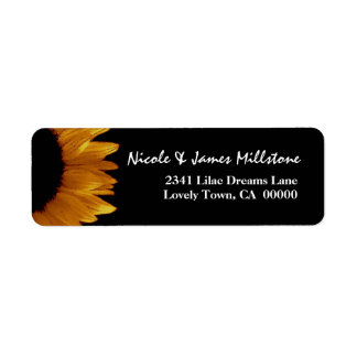 Bright Gold and Black Sunflower Modern Wedding Return Address Label