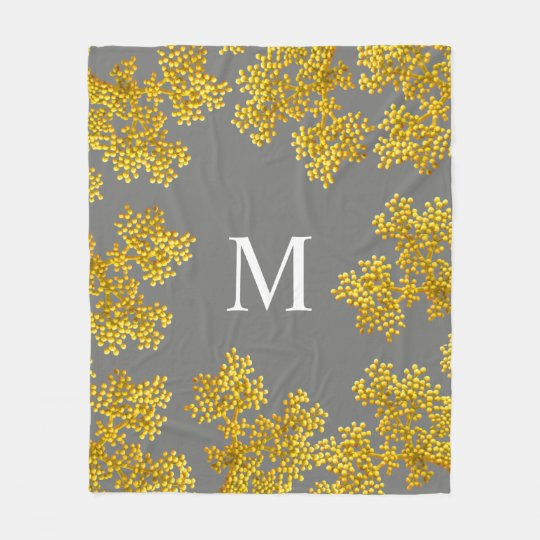 Bright Golden Pink Flower Buds | Monogram Fleece Blanket