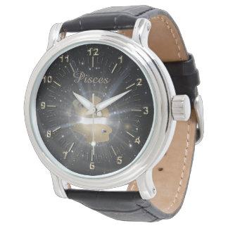 Bright golden Pisces Wrist Watches