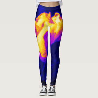 Bright golden rose on royal blue leggings