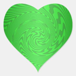 Bright Green Abstract Design Heart Sticker