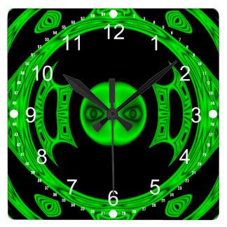 Bright Green Alien Abstract Clock